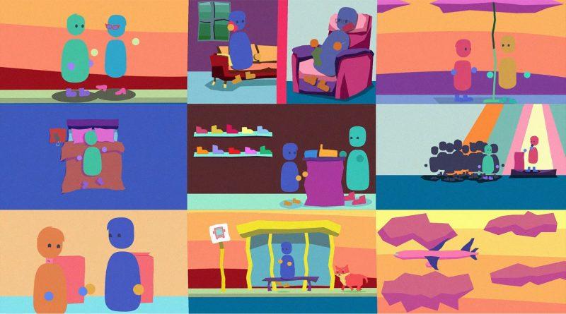 animerad färgglad vy med många detaljer